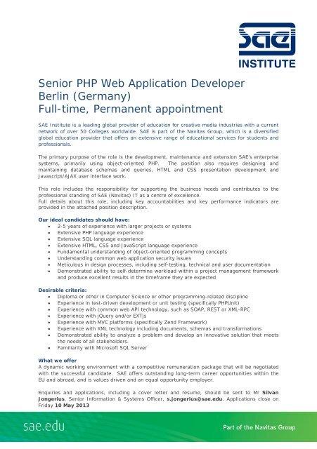 Senior PHP Web Application Developer Berlin (Germany ...