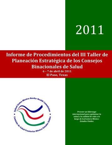 Informe de Procedimientos del III Taller de Planeación Estratégica ...