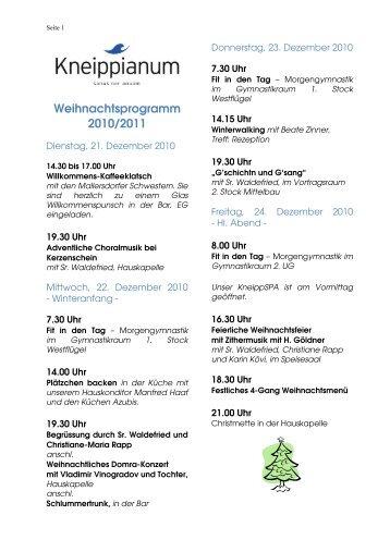 Weihnachtsprogramm 2010/2011