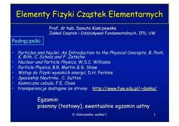Elementy Fizyki Cząstek Elementarnych