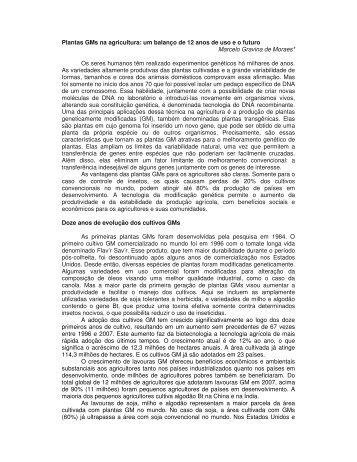 Plantas GMs na agricultura: um balanço de 12 anos de uso e o ... - CIB