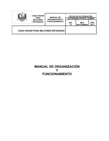MANUAL DE ORGANIZACIÓN Y FUNCIONAMIENTO - Issfam