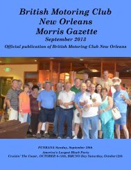 September - British Motoring Club New Orleans