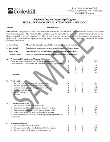 Student Teaching College Supervisor Sample Observation Form