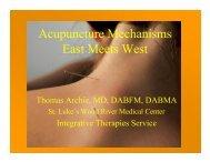 Acupuncture Mechanisms East Meets West - St. Luke's