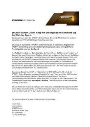 SPORT1 launcht Online-Shop mit umfangreichem Sortiment aus der ...