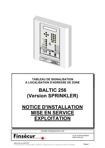 BALTIC 256 (Version SPRINKLER) NOTICE D'INSTALLATION MISE ...