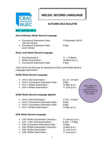 Teachers' Bulletin - Autumn 2012 - WJEC