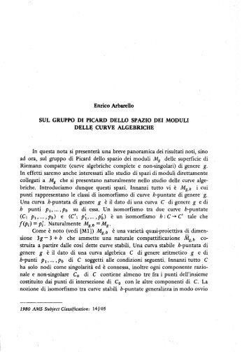 Sul gruppo di Picard dello spazio dei moduli delle curve algebriche