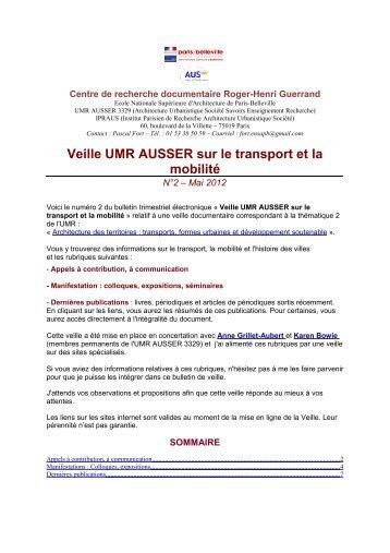 Veille UMR AUSSER sur le transport et la mobilité - Europe