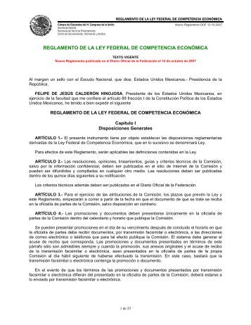 reglamento de la ley federal de competencia económica - IDConline