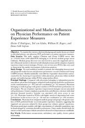 Organizational and Market Influences on Physician Performance on ...