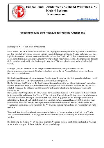 Fußball- und Leichtathletik Verband Westfalen e. V. Kreis 4 Beckum ...