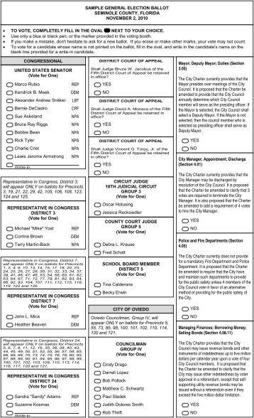 sample general election ballot holmes county, florida ...