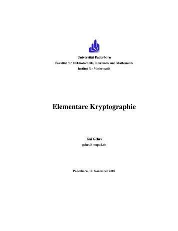 Grundlagen der Kryptographie - Institut für Mathematik - Universität ...