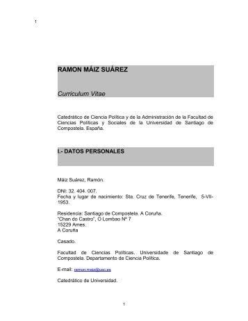 RAMON MÁIZ SUÁREZ - Páxinas persoais - USC - Universidade de ...