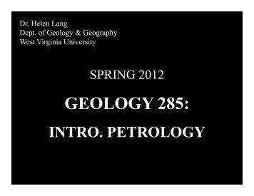 GEOLOGY 285: