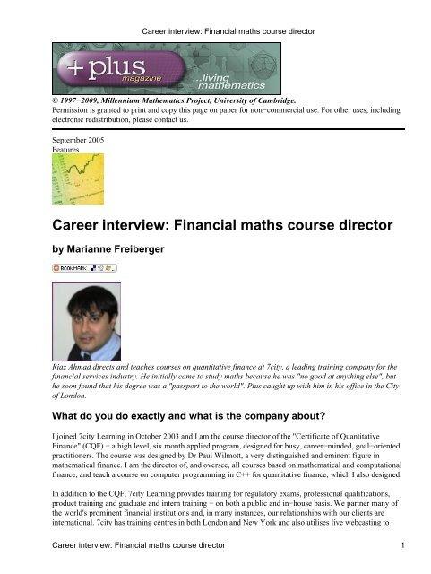 Career Interview Financial Maths Course Director