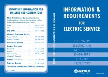 INFORMATION & REQUIREMENTS ELECTRIC SERVICE - NStar