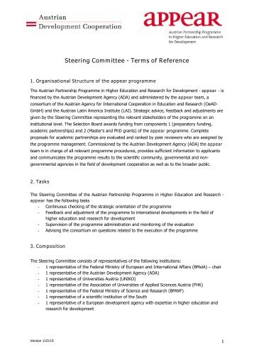 university steering committee terms of reference template