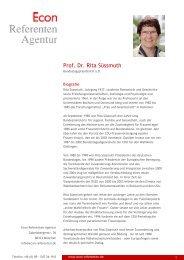 Prof. Dr. Rita Süssmuth - Econ Referenten-Agentur