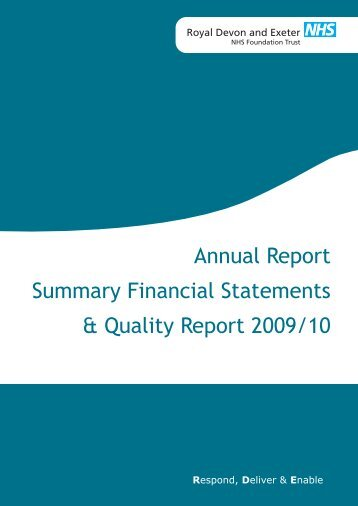 Annual Report and Quality Report 2009/10 - Royal Devon & Exeter ...