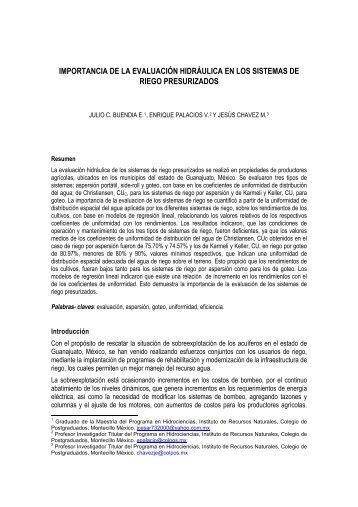 importancia de la evaluación hidráulica en los sistemas de riego ...