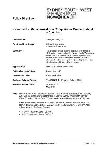 Complaints: Management of a Complaint or Concern about a Clinician