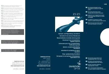 SWAROVSKI OPTIK KG 6067 Absam, Austria info@swarovskioptik ...