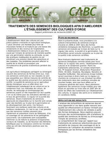 Organic Seed Treatments - Centre d'agriculture biologique du Canada