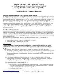 Cornell University Child Care Grant Subsidy for Undergraduate ...