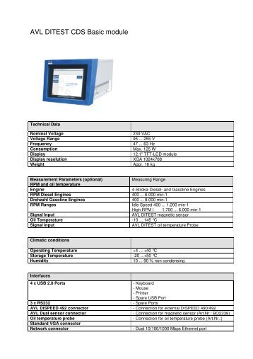 AVL DiTEST CDS Datasheet