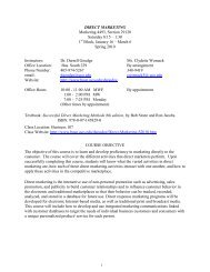 MKTG 4493 Direct Marketing Syllabus - UCO College of Business