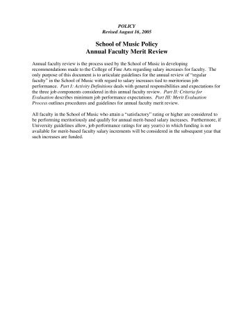 School of Music Policy Annual Faculty Merit Review