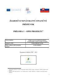 Opis projektu - Fond sociálneho rozvoja