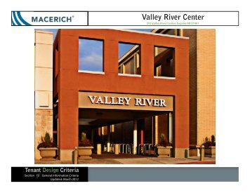 Valley River Center General Information Criteria Manual - Macerich