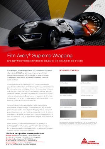 Avery Supreme Wrapping Films | Nouvelles Couleurs (PDF) - Spandex