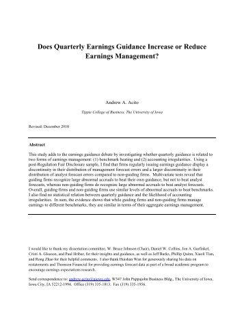 Does Quarterly Earnings Guidance Increase or Reduce Earnings ...