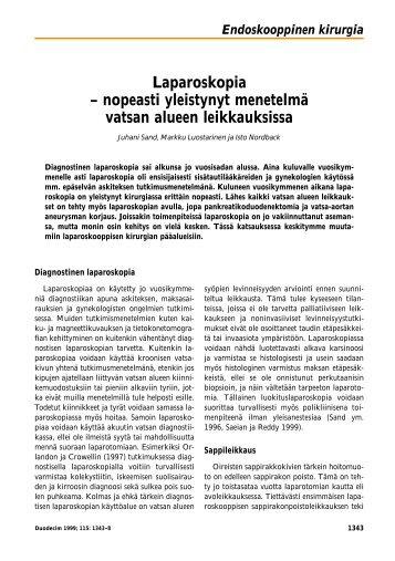 Laparoskopia – nopeasti yleistynyt menetelmä vatsan ... - Duodecim
