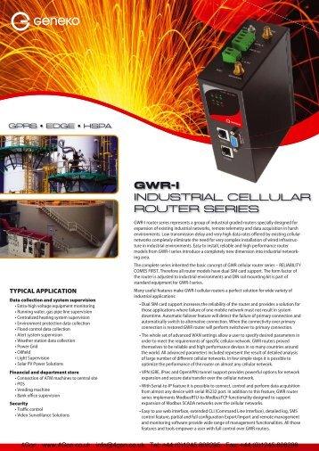 Geneko GWR Industrial Router Datasheet (PDF) - 4Gon