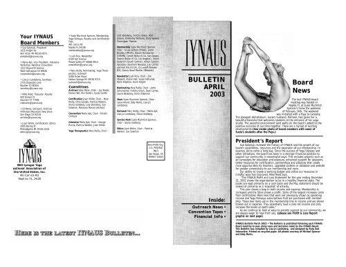 April 2003 Pdf Iyengar Yoga National Association Of The United