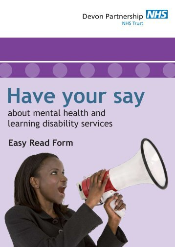 Easy Read Form about mental health and learning disability services