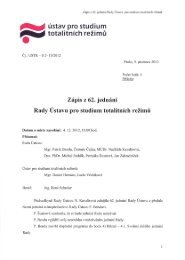 Zápis z 62. jednání Rady - Ústav pro studium totalitních režimů