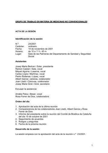 Grupo de trabajo en materia de medicinas no convencionales. Acta 24