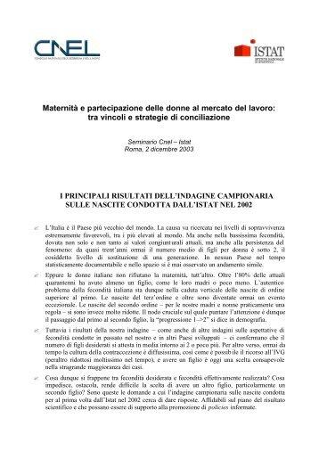 Sintesi del Seminario Cnel-Istat - Centro Risorse Donne