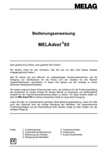 Bedienungsanweisung MELAdest ® 65