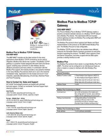 Modbus Plus to Modbus TCP/IP Gateway