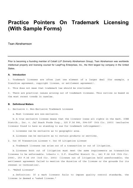 Practice Pointers On Trademark Licensing With Sample Forms