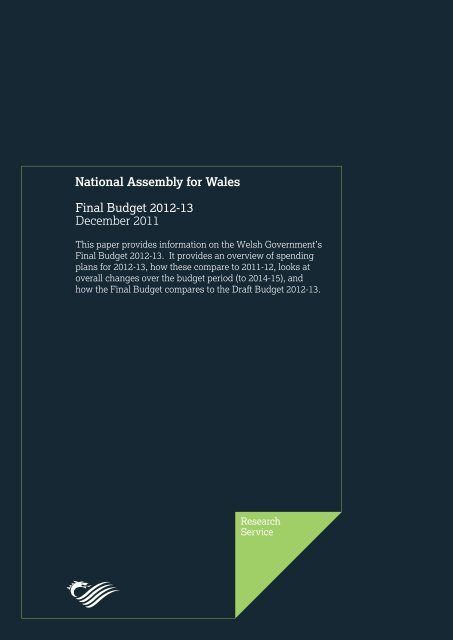 Final Budget 2012-13 December 2011 - National Assembly for Wales