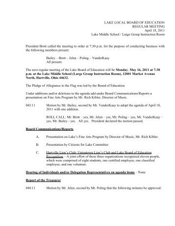 Minutes of 4-18-11 - Lake Local Schools